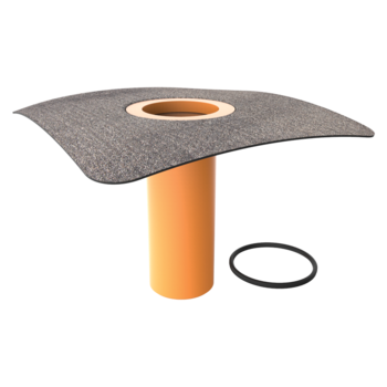 Nástavec střešní vpusti s integrovanou bitumenovou manžetou  bitumenová manžeta