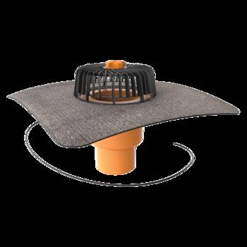 Svislá vyhřívaná střešní vpust s integrovanou bitumenovou manžetou  svislá vyhřívaná
