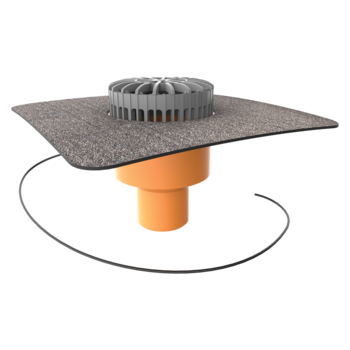 Svislá vyhřívaná terasová vpust s integrovanou bitumenovou manžetou
