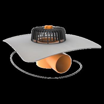 Vodorovná vyhřívaná střešní vpust s integrovanou PVC manžetou  vodorovná vyhřívaná