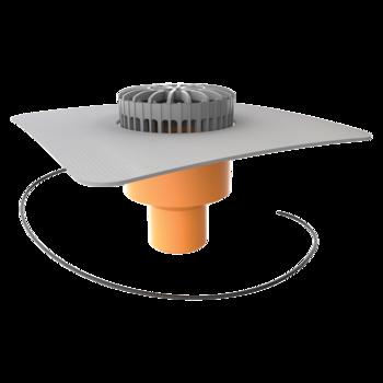 Svislá vyhřívaná terasová vpust s integrovanou PVC manžetou