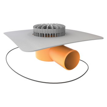 Vorodovná vyhřívaná terasová vpust s integrovanou PVC manžetou
