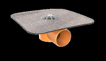 Vodorovná balkonová vpust s integrovanou bitumenovou manžetou