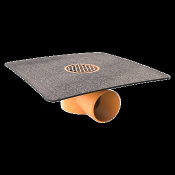 Vodorovná balkonová vpust s integrovanou bitumenovou manžetou  vodorovná