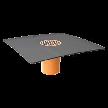 Jednostěnná střešní vpust pro nezateplené střechy s integrovanou bitumenovou manžetou  pro nezateplené střechy