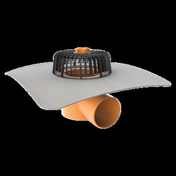 Vodorovná střešní vpust s integrovanou PVC manžetou  vodorovná