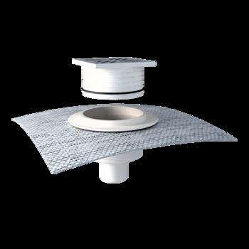 Jednostěnná střešní vpust nerezová pro nezateplené střechy s integrovanou manžetou na zakázku  nerezová pro nezateplené střechy