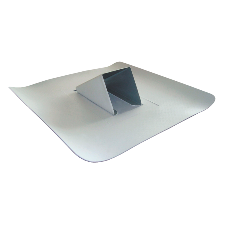 Plechový zachytávač sněhu světle šedý s integrovanou manžetou hydroizolace