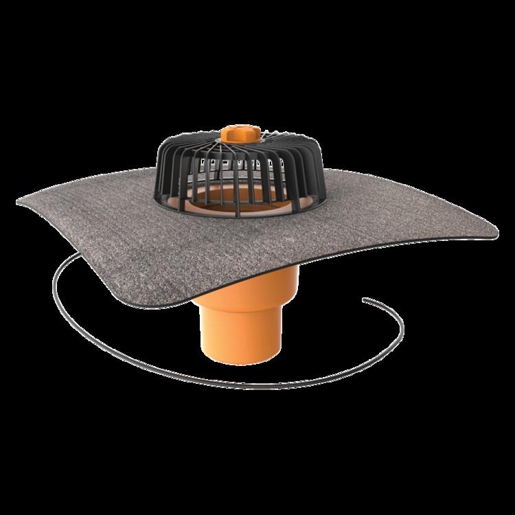Svislá vyhřívaná střešní vpust s integrovanou bitumenovou manžetou