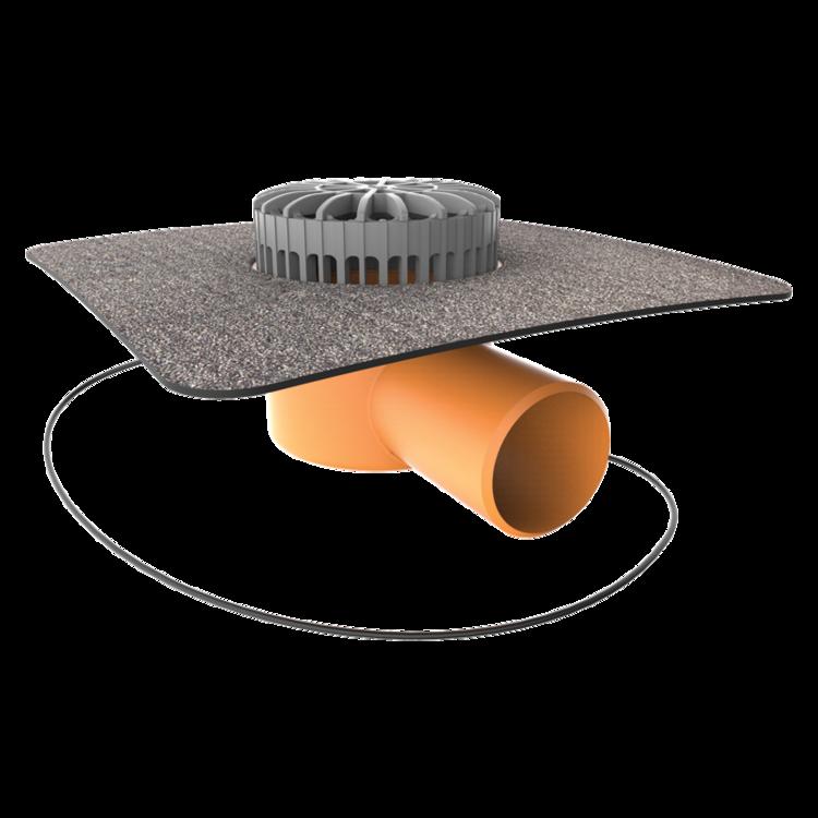 Vorodovná vyhřívaná terasová vpust s integrovanou bitumenovou manžetou vodorovná vyhřívaná