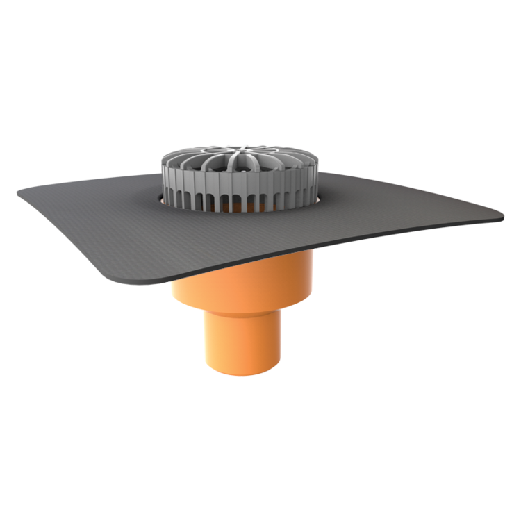 Vodorovná vyhřívaná střešní vpust s integrovanou manžetou na zakázku vodorovná vyřívaná