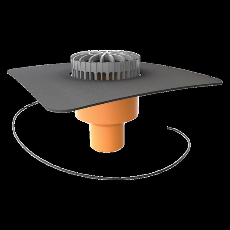 Svislá vyhřívaná terasová vpust s integrovanou manžetou na zakázku svislá vyhřívaná