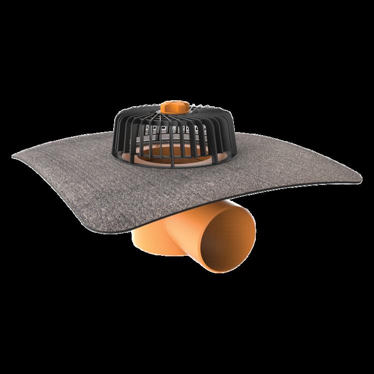 Vodorovná střešní vpust s integrovanou bitumenovou manžetou