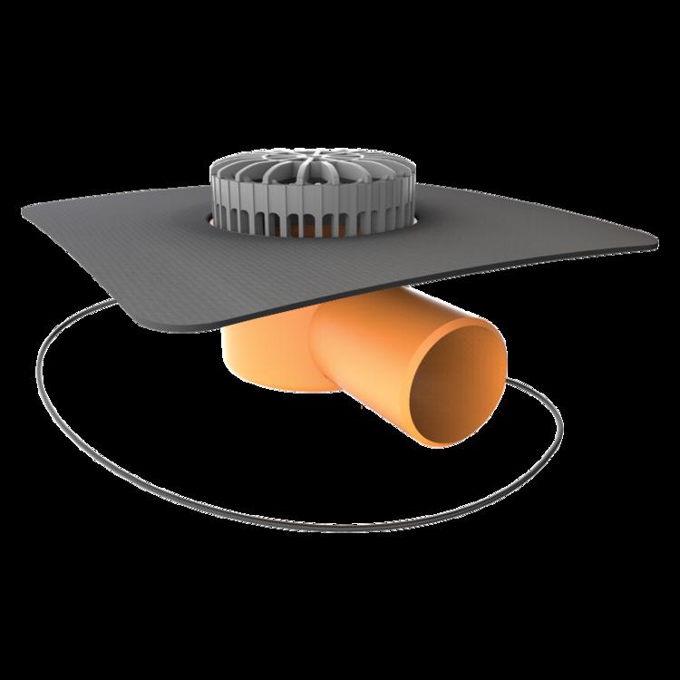 Vorodovná vyhřívaná terasová vpust s integrovanou manžetou na zakázku