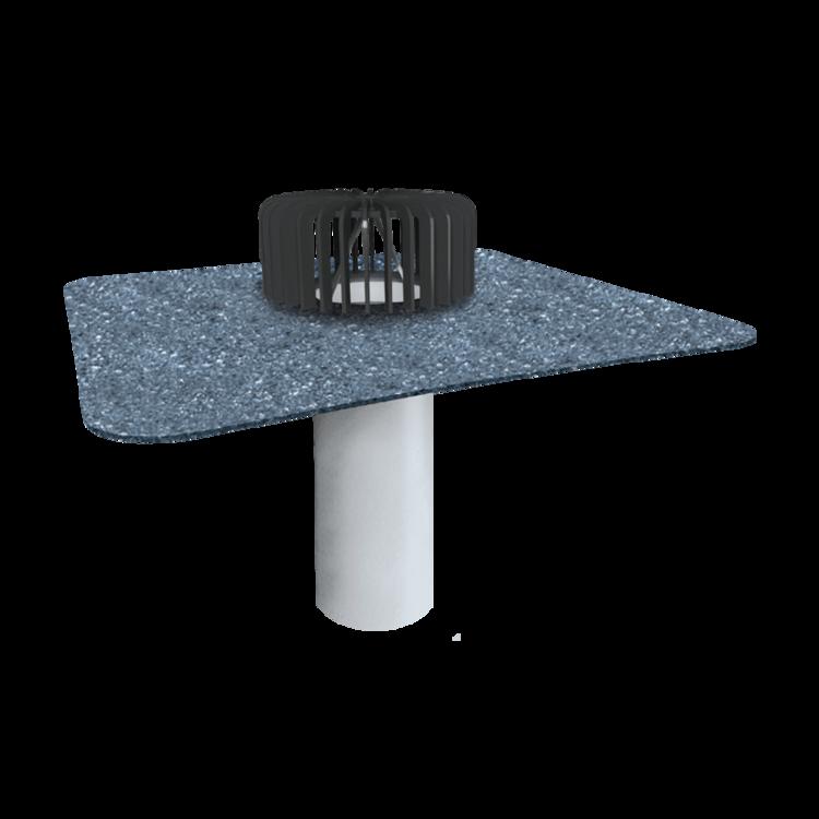 Jednostěnná střešní vpust pro nezateplené střechy s integrovanou bitumenovou manžetou