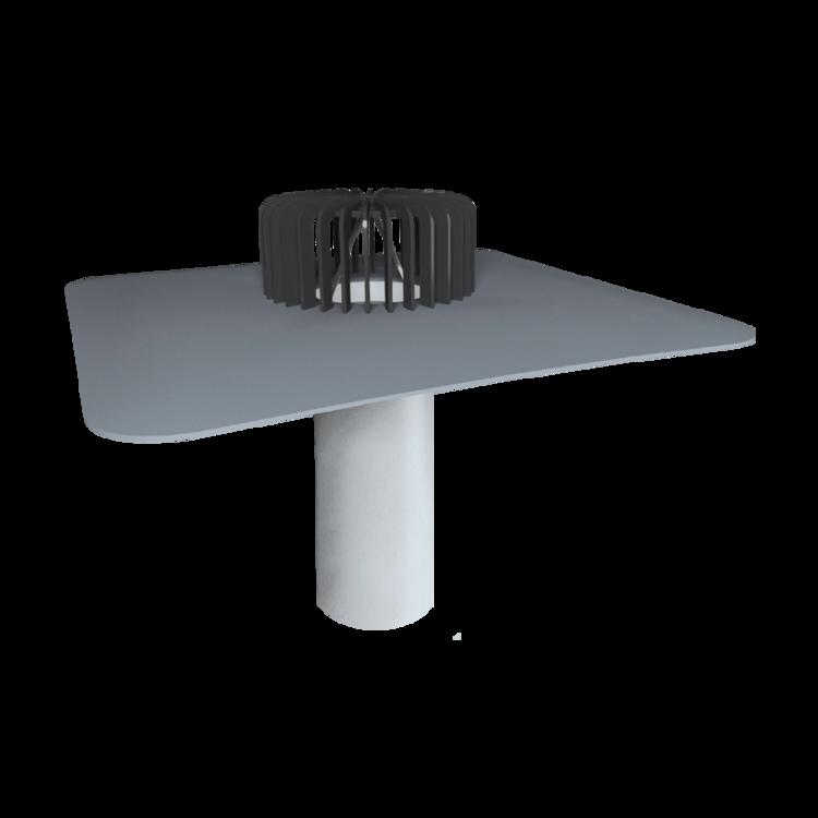 Jednostěnná střešní vpust pro nezateplené střechy s integrovanou PVC manžetou