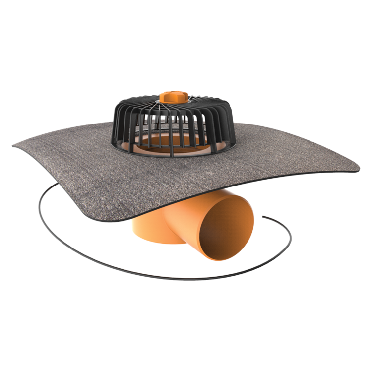 Vodorovná vyhřívaná střešní vpust s integrovanou bitumenovou manžetou