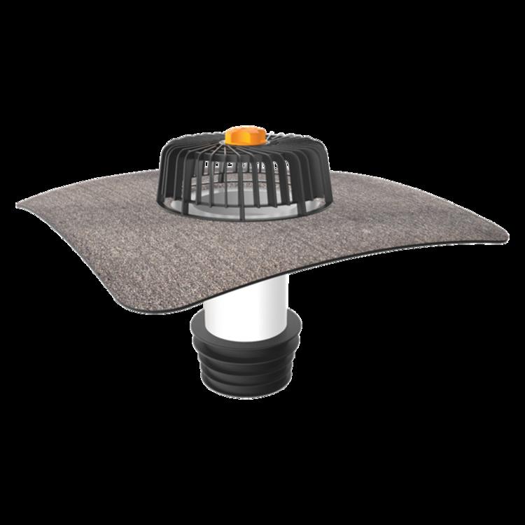 Sanační vpust pro nezateplené střechy s integrovanou bitumenovou manžetou