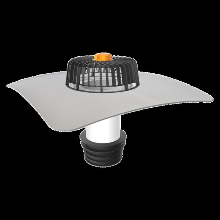 Sanační vpust pro nezateplené střechy s integrovanou PVC manžetou pro nezateplené střechy