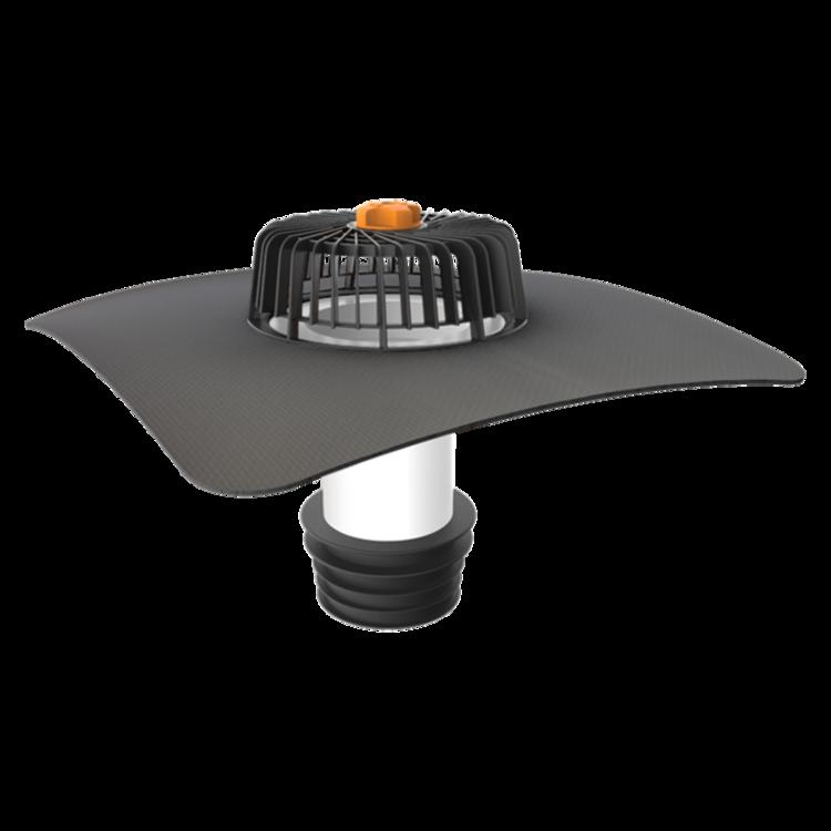 Sanační vpust pro nezateplené střechy s integrovanou manžetou na zakázku pro nezateplené střechy