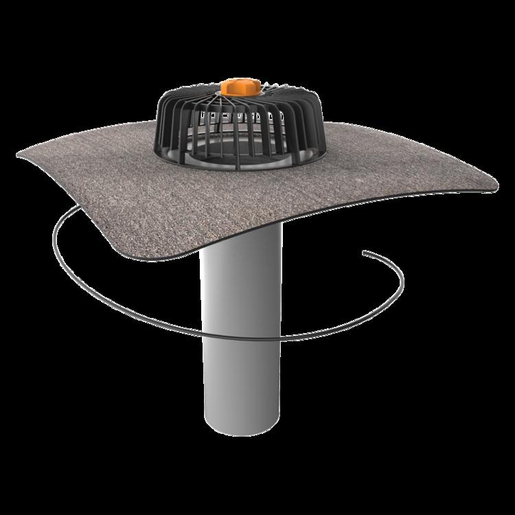 Jednostěnná vyhřívaná střešní vpust s integrovanou bitumenovou manžetou
