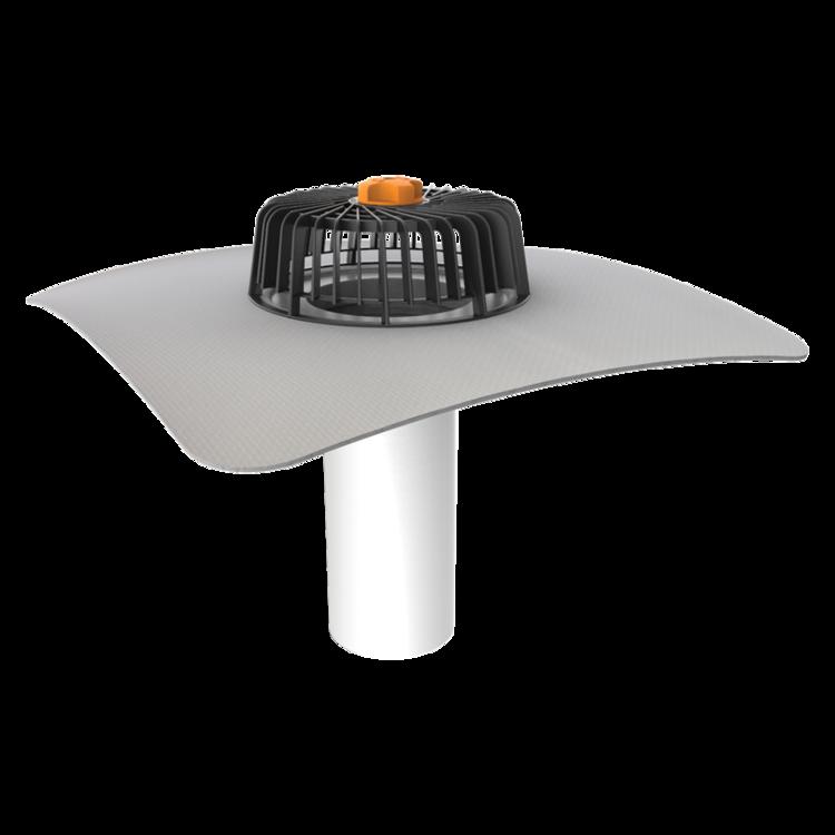 Jednostěnná střešní vpust pro nezateplené střechy s integrovanou PVC manžetou pro nezateplené střechy