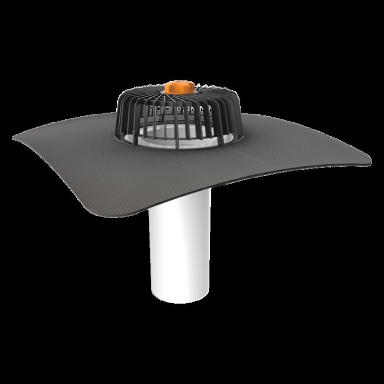 Jednostěnná střešní vpust pro nezateplené střechy s integrovanou manžetou na zakázku