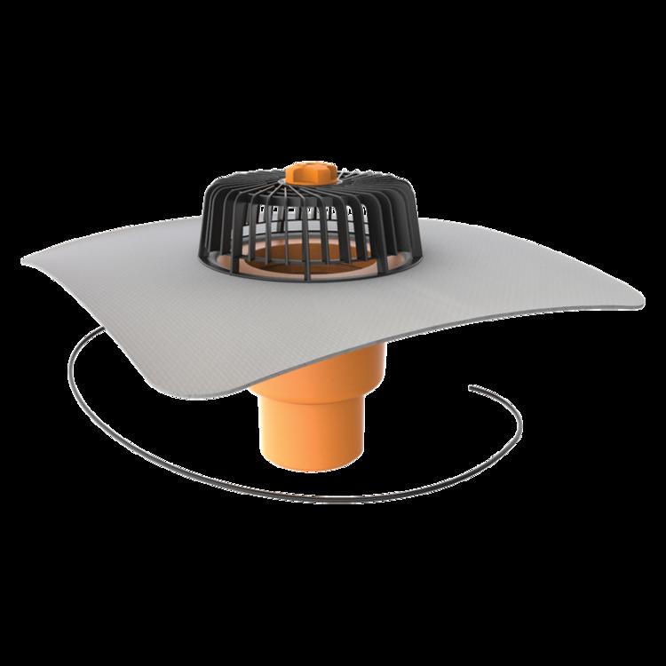 Svislá vyhřívaná střešní vpust s integrovanou PVC manžetou