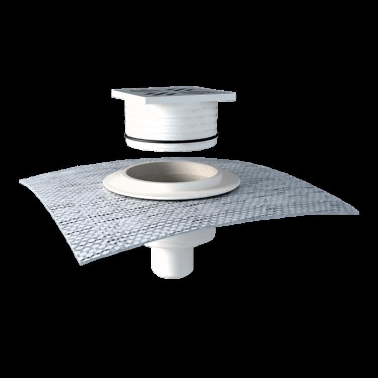 Svislá podlahová vpust s integrovanou manžetou