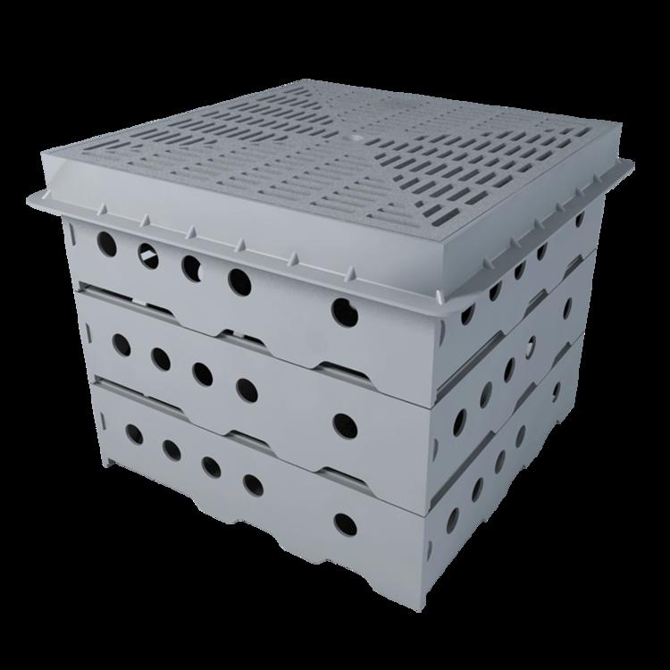 Vodorovná vyhřívaná balkónová vpust s integrovanou bitumenovou manžetou vodorovná vyhřívaná